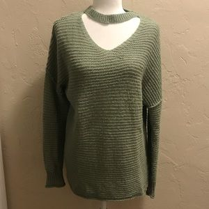 Mossimo Cutout Neckline Chunky Sage Green Sweater